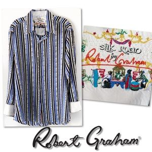 Silk Road by Robert Graham blue white shirt SZ M